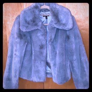 Topshop teal faux fur jacket